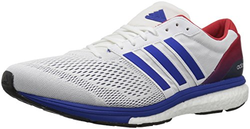 adidas Performance Men's Adizero Boston 6 AKTIV Running Shoe White/Collegiate Royal/Scarlet 9.5 M US