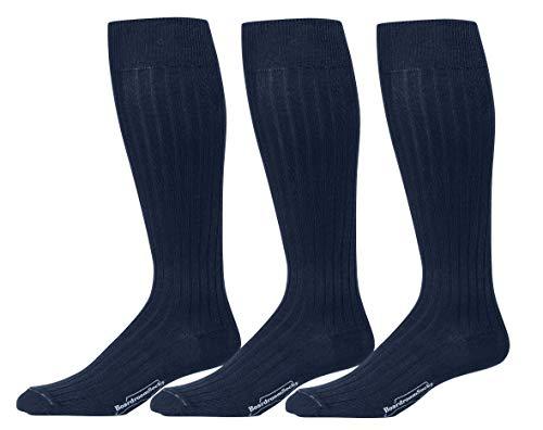 Calf Pima Cotton - Boardroom Socks Men's Over the Calf Pima Cotton Dress Socks, 3 Pairs of Dark Navy