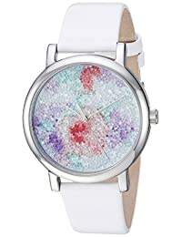 Timex Women's TW2R66500 Crystal Bloom White/Silver Floral Leather Strap Watch