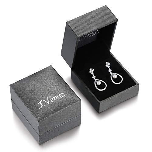 J.Vénus Vintage Pearl Drop 925 Sterling Silver Earrings Pierced Style Jewelry for Women Girls Gift, Wedding Dangle Earrings