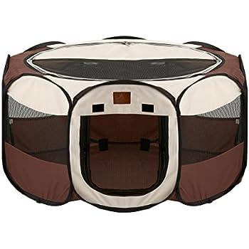 Parkland Pet Portable Foldable Playpen for Dogs, Large - Brown