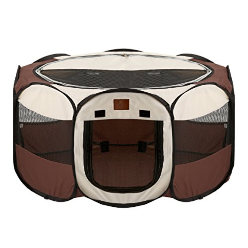 (Parkland Pet Portable Foldable Playpen Exercise Kennel Dogs Cats Indoor/Outdoor Removable Mesh Shade Cover, Large)