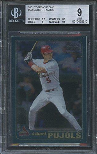 - 2001 topps chrome #596 ALBERT PUJOLS st cardinals rookie BGS 9 (9.5 8.5 9 9.5) Graded Card