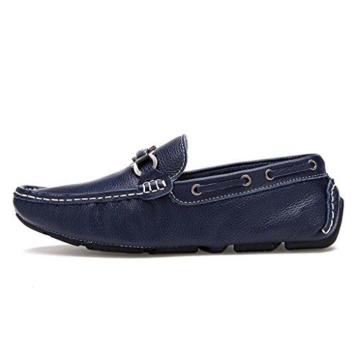 ZXCV Zapatos al aire libre Zapatos de cuero de los Oxfords ocasionales del vestido de los hombres Azul