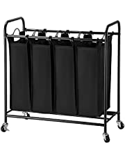 SortWise Laundry Sorter 4 Bag laundry basket 4 Section bathroom Organizers Laundry Hamper With Wheels Storage Rolling Cart With Removable Laundry Liner Bag And Brake Casters, for Bedroom, Bathroom, Laundry room ( 120L )