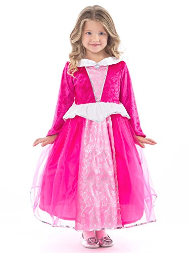 Deluxe Sleeping Beauty Princess Costumes (Little Adventures Deluxe Sleeping Beauty Hot Pink Dress Up Costume for Girls - Large (5-7 Yrs))