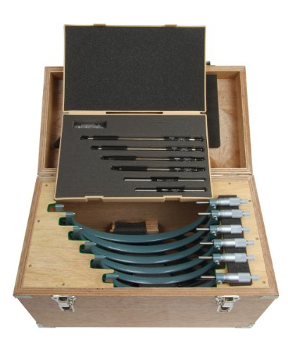 "UPC 603908021674, Mitutoyo 103-909 Outside Micrometer Set with Standards, Ratchet Stop, 6-12"" Range, 0.0001"" Graduation (6 Piece Set)"