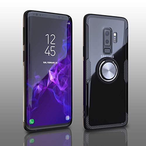 Samsung Galaxy S9 Plus Case, Transparent Crystal Clear Cover with Slim Silicone Rubber Bumper Frame and 360° Rotating Magnetic Finger Ring & Kickstand Compatible with Samsung Galaxy S9 Plus - Black
