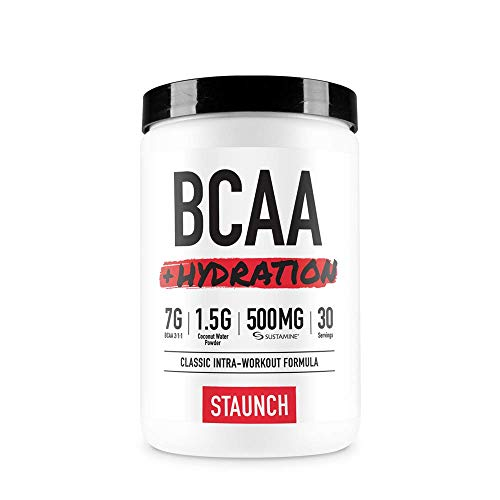 Staunch BCAA Powder – BCAA Hydration Complex – White Grape 30 Servings – Recovery and Coconut Water Hydration Branched Chain Amino Acid Complex