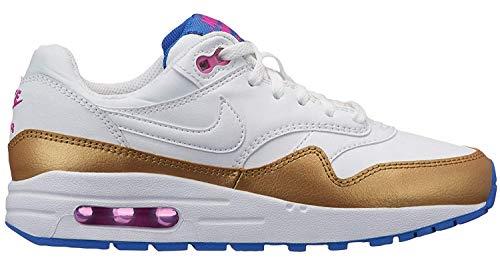 Nike Air Max 1 Big Kids' Shoes White/Metallic-Gold 807605-103 (3.5 M US) ()