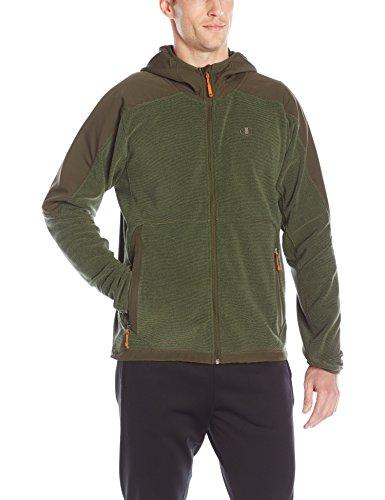 Champion Men's Hooded Textured Fleece Jacket, Camouflage Green, Large