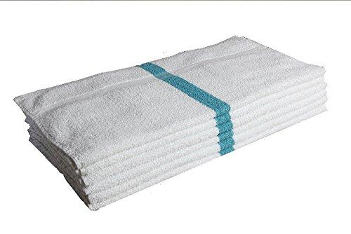 6 Pc New Terry Bar Towels Mops Kitchen Towels 32oz Green Stripe