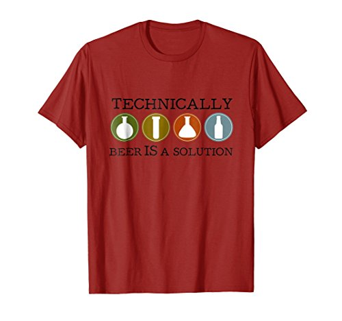 Mens Technically Beer is a Solution funny beer and brewing tshirt XL ()