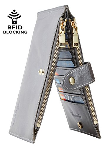 Travelambo Womens Walllet RFID Blocking Bifold Multi Card Case Wallet with Zipper Pocket (wax leather gray)