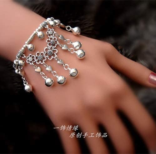 Butterfly anklets Custom Models a Length of Less Love Decorated Miao Silver Bell Foot Chain Anklet Ankle Bracelet Jewelry Bohemian Butterfly Flower Original Handmade Bracelets 182