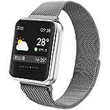Color Screen Smart Watch Info Smart Notification Heart Rate Blood Pressure Monitor Fitness Tracker Bracelet (Silver)
