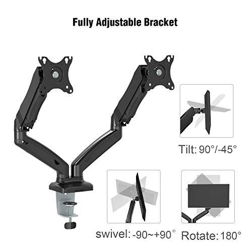 Dual Arm Monitor Stand - Adjustable Gas Spring Computer Desk Mount VESA Bracket with C Clamp/Grommet Mounting Base for 13 to 27 Inch Computer Screens - Each Arm Holds up to 14.3lbs by HUANUO (Image #3)