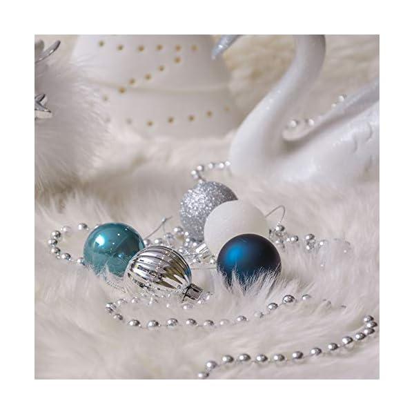Valery Madelyn Palle di Natale 40 Pezzi 4 cm Addobbi Natalizi per Albero, Auguri Invernali Argento e Blu Ornamenti di Palla di Natale Infrangibili di Base 7 spesavip