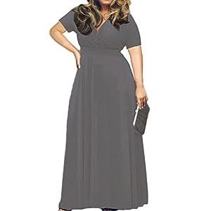 POSESHE Women's Solid V-Neck Short Sleeve Plus Size Evening Party Maxi Dress