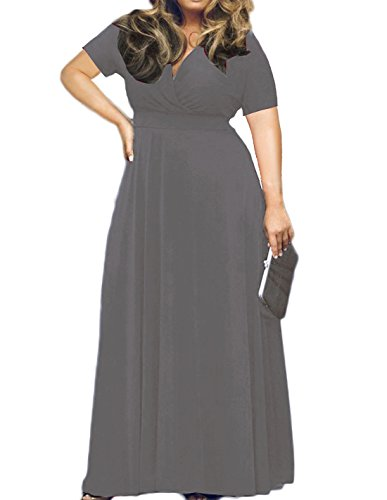 POSESHE Women's Solid V-Neck Short Sleeve Plus Size Evening Party Maxi Dress Grey XL