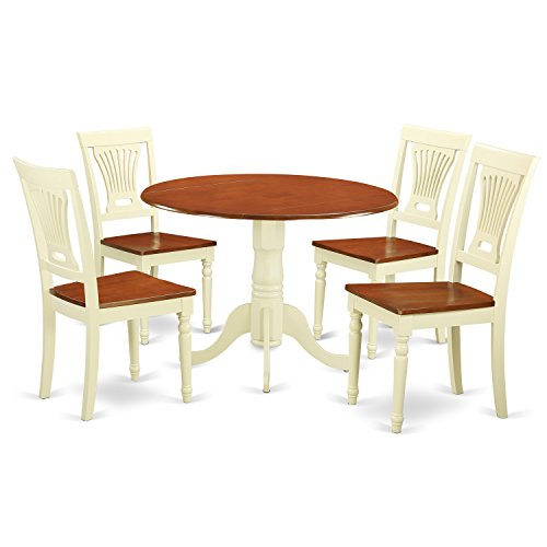 East West Furniture DLPL5-BMK-W 5 Piece Dining Table and 4 Chairs Small Set