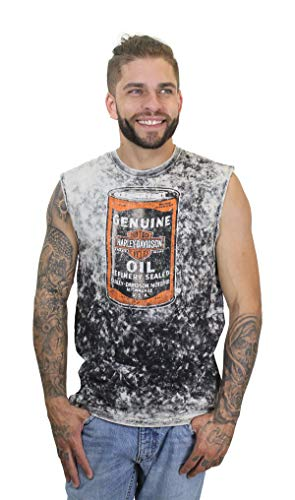 Harley-Davidson Mens Oil Shop Towel Dyed Natural Sleeveless Muscle T-Shirt (Large) ()