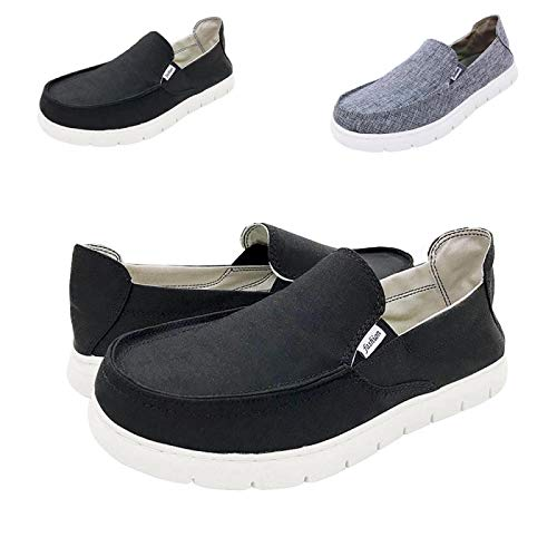 (Boat Shoes Men Slip On Casual Walking for Mens Deck Canvas Loafers Vintage Flat Comfort Shoe - (Black US8))