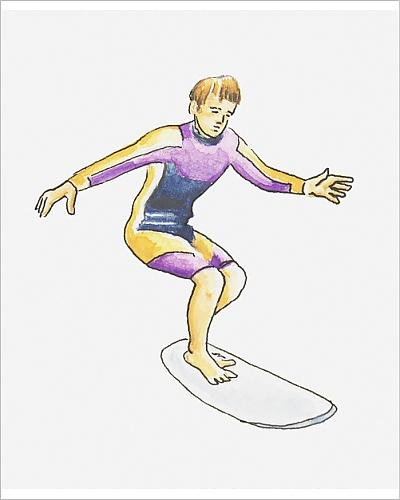 Photographic Print of Illustration of teenage boy balancing on surfboard, wearing - Wetsuit Wearing