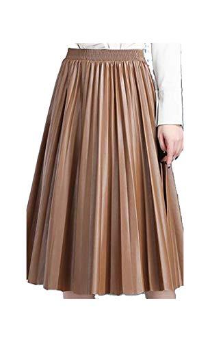 - FHPJK Spring Ladies Skirts Organ Pleated Skirt Elegant High Waist Leather Skirt Khaki