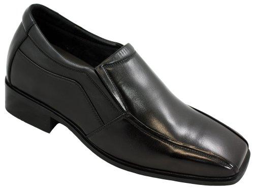 Calden-k0285-7,1cm Grande Taille-Hauteur Augmenter Chaussures pour hommes (Noir à Enfiler Bout Carré de vélo)