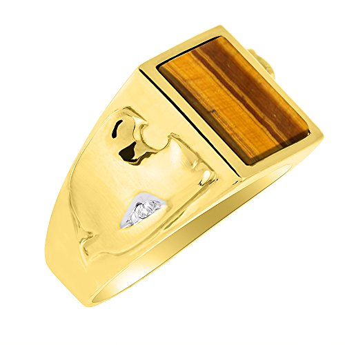 - Tiger Eye & Diamond Ring set in Solid 14K Yellow Gold. Genuine Tiger Eye Special Cut for this Ring. Designer Style