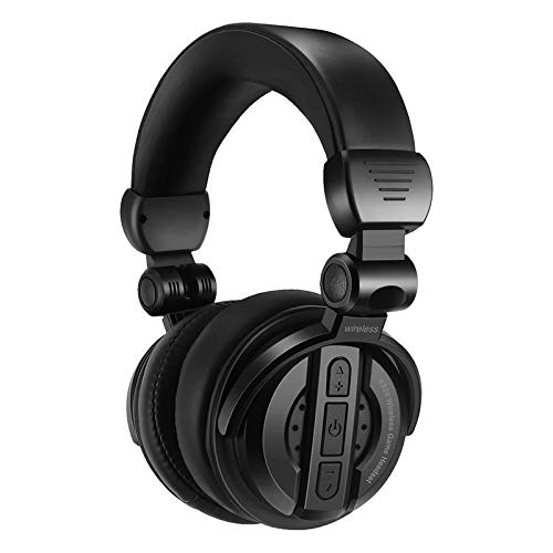 SOONHUA Bluetooth Headphones Over Ear, Wireless Over Ear Headset with Mic Folding HiFi Stereo Deep Bass Headphones with Soft Earmuff Support SD Card and Fm Radio for Cellphones Laptop PC, Black