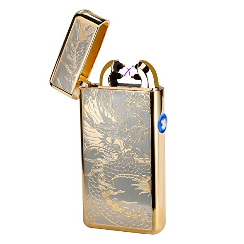 Padgene USB Port Rechargeable Windproof Flameless The Cross Electronic Pulse Arc Cigarette Lighter Portble No Gas Lighter (Gold)