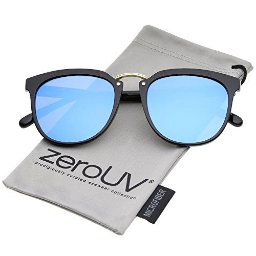 zeroUV - Classic Metal Bridge Square Mirrored Flat Lens Horn Rimmed Sunglasses 55mm (Black-Gold / Blue - Asos Sunglasses Wayfarer