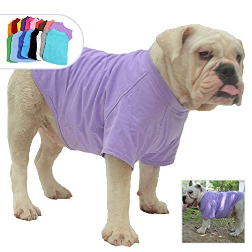 Lovelonglong Bulldog Clothes Dog Clothing Blank T-Shirt Tee Shirts for French Bulldog English Bulldog American Pit Bull Pugs 100% Cotton Skin Care Violet B-L