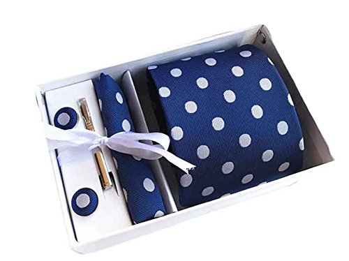 Navy Blue Polka Dot - MENDENG Men's Navy Blue Polka Dot Necktie Tie Clip Pocket Square Cufflinks Set