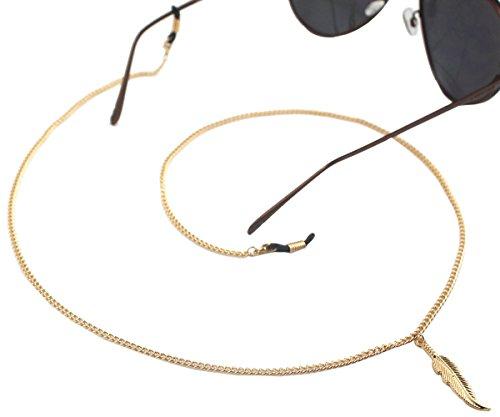 Ababalaya Retro Strap Anti-Skid Eyeglass Cord Metal Sunglasses Thin Chain,130Gold