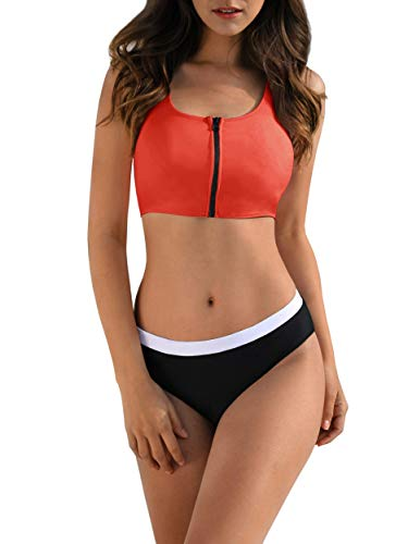 Womens Two Piece Bikini Swimsuits Zipper Crop Tops Backless Padded Bathing Suits Swimwear Orange