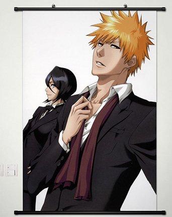 Bleach Ichigo Rukia (Wall Scroll Poster Fabric Painting For Anime BLEACH Kurosaki ichigo & Kuchiki Rukia 242 S)