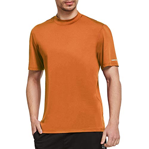 Ogeenier Men's Short Sleeve Athletic T-Shirt Mock Neck Running Workout Shirts
