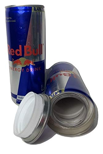 Fake Red Bull 8.4 OZ Can Safe Diversion Secret Stash Safes with Hidden Storage to Hide Money Jewelry Anything Plus Free Smell Proof Mylar Bag