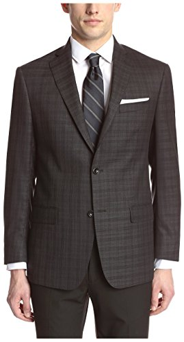 Franklin Tailored Men's Black Tonal Large Check Sport Coat, Charcoal, (42r Blazer)