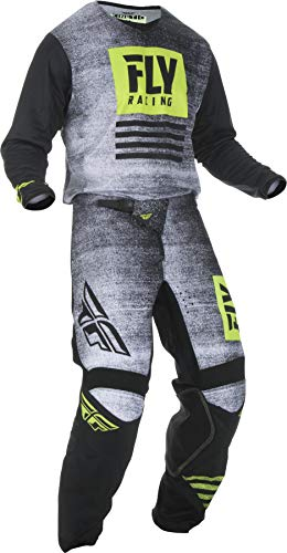 Fly Racing - 2019 Kinetic Noiz (Mens Black & HI-VIS Medium/30W) MX Riding Gear Combo Set, Motocross Off-Road Dirt Bike Light Weight Durable Jersey & Mesh Comfort Liner Stretch Pre Shaped Knees Pant (Used Dirt Bikes For Sale In Michigan)