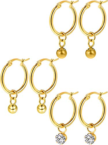meekoo Huggie Hoop Earrings Stainless Steel Dangle Hinged Hoop Cuff Earrings Huggie Stud Earrings with Moon Star Bolt Charms for Women Girls (Gold) ()