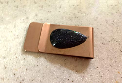 Clip Goldstone - A Tear Drop of Blue=Purple Goldstone Tops This Typical Man's Copper Money Clip