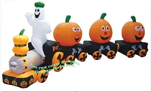 Halloween Inflatable Ghost Train W/ Pumpkin Cars - Over 14' Long