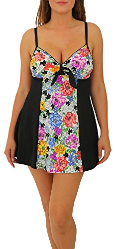 A Shore Fit Womens Flower Child Colorblock Swimdress 10 Pink/Black/White/Blue