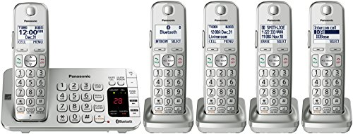 PANASONIC Link2Cell Bluetooth Cordless DECT 6.0 Expandable Phone System with Answering Machine and Enhanced Noise Reduction - 5 Handsets - KX-TGE475S (Silver) - Panasonic Blue Telephone