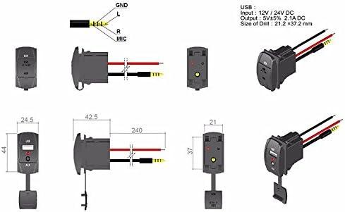 Lzcat Forma di Interruttore DC 12V 2.1 A Car Audio Accessori 3.5mm Jack AUX USB Presa Adattatore USB Caricabatteria da auto USB AUX cavo cavo cavo