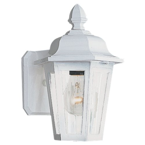 Sea Gull Lighting 8822-15 Single-Light Brentwood Outdoor Wall Lantern with Clear Glass, White Review